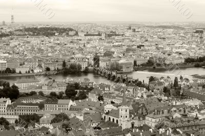 View of Prague from the top monochrome