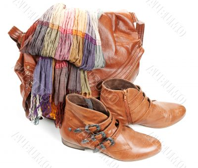 Brown leather bag, scarf and pair feminine boots