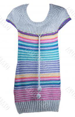 Knitted striped varicoloured feminine gown