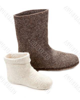 Pair light and dark big woolly lock footwear