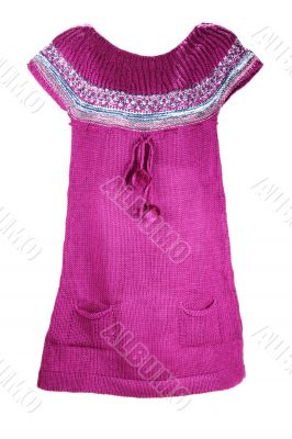 Lilac knitted gown with pompon