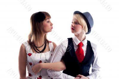 Two girls will wipe friend on friend