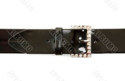 Black leather belt and buckle with stone