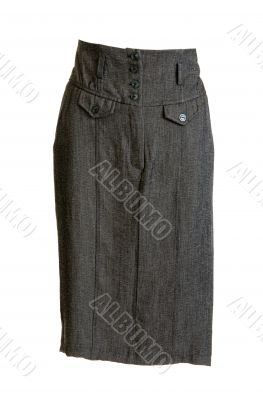 Gray feminine skirt with button