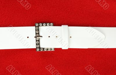 White leather belt and buckle with stone