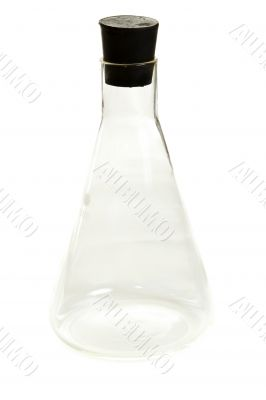 Transparent chemical flask with stopper