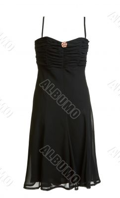 Black evening satin gown with brooch