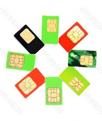 Eight colorful sim card