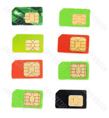 Eight colorful sim card on a white background