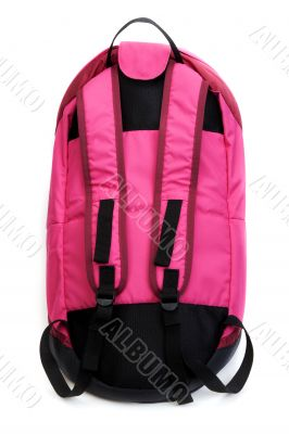 Red backpack with black straps