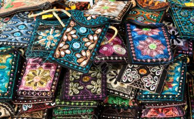 Embroidered oriental patterned purses