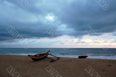 Empty Beach on Cloudy Day at Sunset