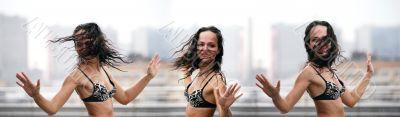 Dances under a rain