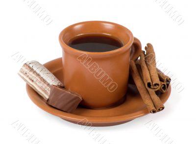 Closeup shot of freshly prepared cup of italian espresso with ci