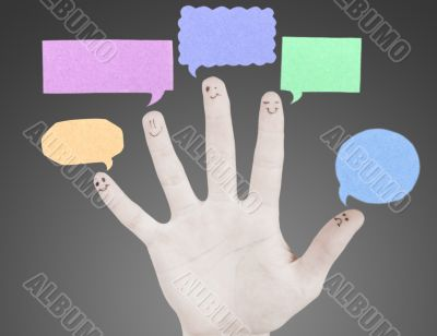 Happy group of finger smileys with social chat sign and speech t