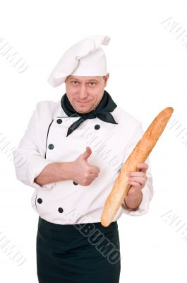 chef with baguette