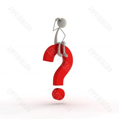 figure sitting on a question mark