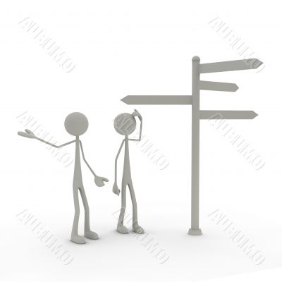 two figures stand in front of a direction sign