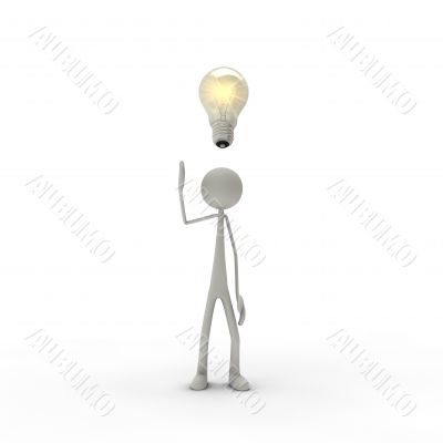 figure with electric bulb