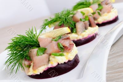 Appetizer with herring