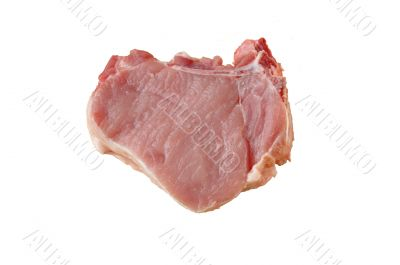 A piece of meat on the bones on a white background