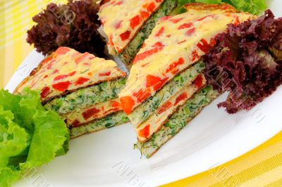 Omelet  with  peppers  and herbs
