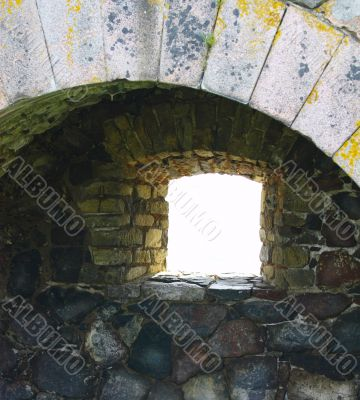 Window in stone Wall of Suomenlinna Sveaborg Fortress in Helsink