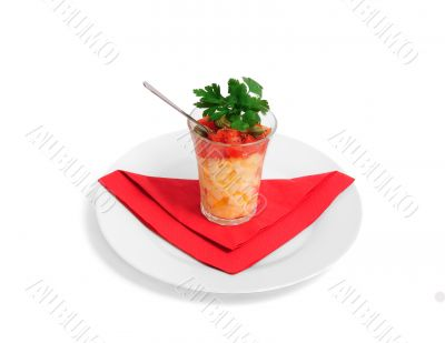 Salad from eggs in a glass