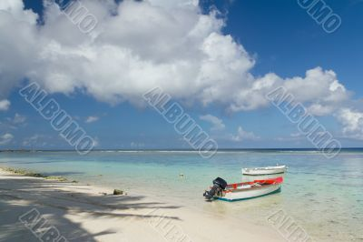 Fishing boat parked by deserted beach