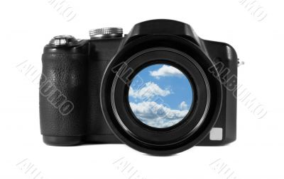 Camera with a beautiful sky in the lens isolated on white