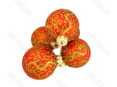 Christmas decoration, red balls isolated on white