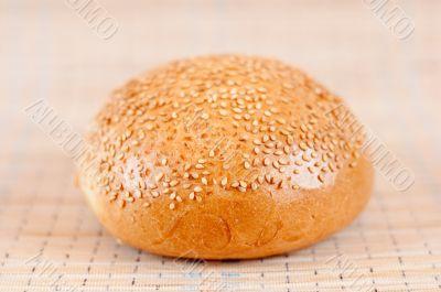 Appetizing bun with sesame seeds