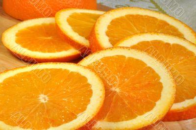 Large round slices of juicy oranges