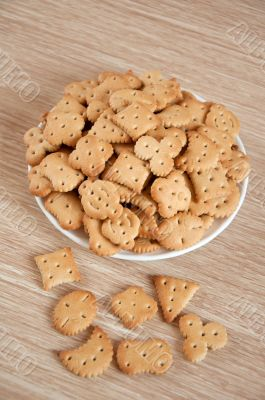Children figured crackers on a plate