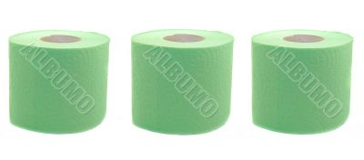 Three rolls of toilet paper green isolated on white background