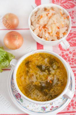 Russian national dish - Sauerkraut Soup