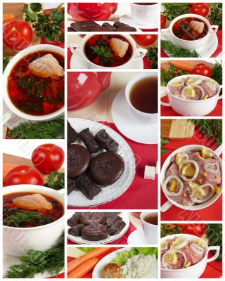 Mouth-watering home cooking, collage. Ready meals