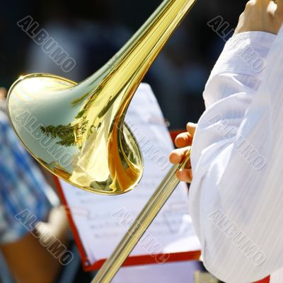 Musician playing the trumpet in the Orchestra