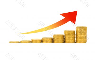Financial success concept - graph of the columns of coins