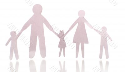 Paper cut family, isolated on white background
