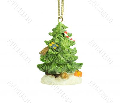 Decorated, well-dressed Christmas tree on a white background