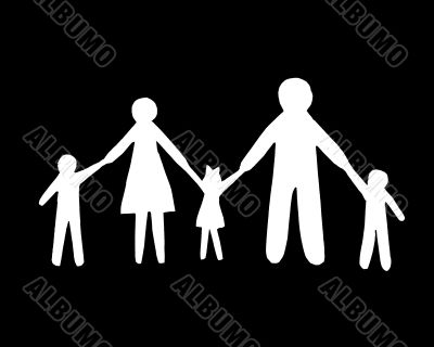 Paper cut family, isolated on black background