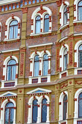 Beautiful rows of windows on an old building in Helsinki