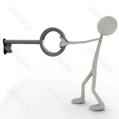 figure with a big key