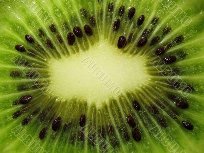 a cut of a kiwi