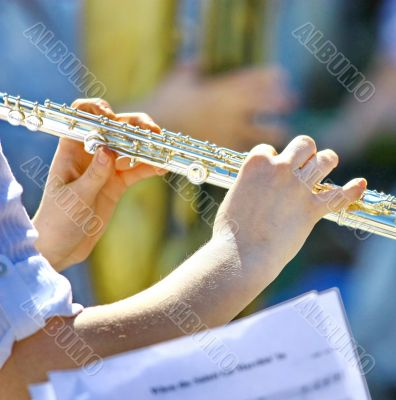 Musician playing the flute