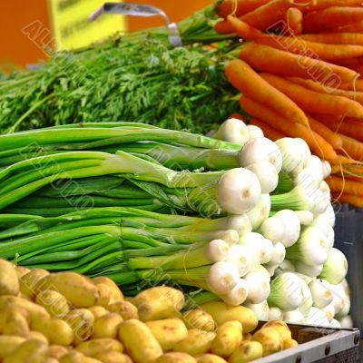Selection of summer seasonal organic vegetables