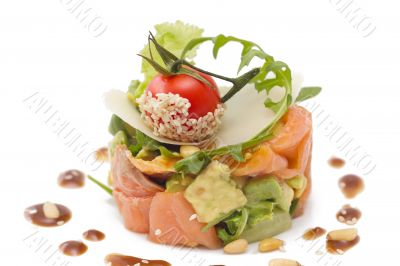 Avocado and salmon salad, isolated