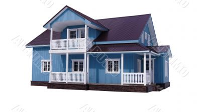 Blue house on white