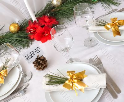 Serving New Year or Christmas table